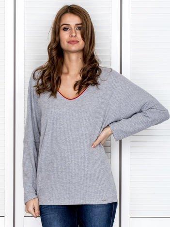 Bluzka damska z kontrastową lamówką szara