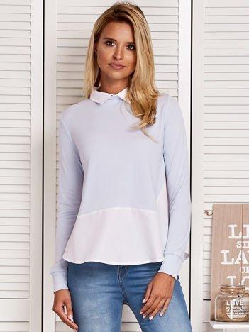 Bluzka damska z koszulą i suwakiem jasnoniebieska
