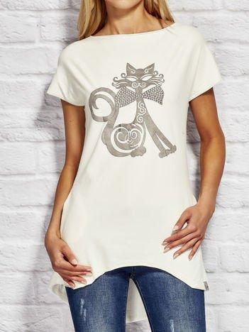 Bluzka damska z nadrukiem kota ecru