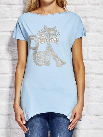 Bluzka damska z nadrukiem kota jasnoniebieska