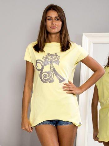 Bluzka damska z nadrukiem kota żółta
