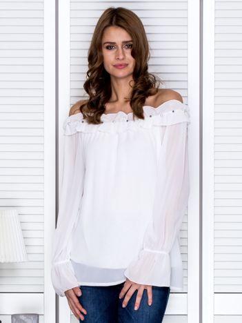 Bluzka damska z ozdobnym dekoltem biała