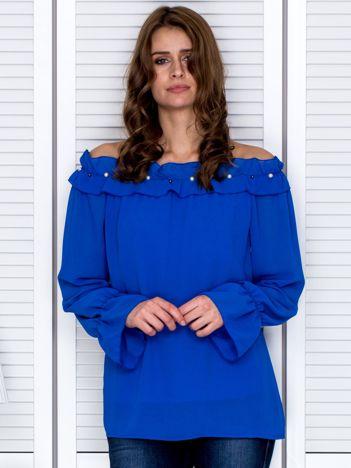 Bluzka damska z ozdobnym dekoltem niebieska