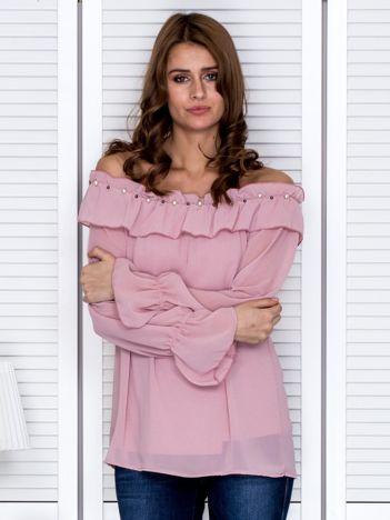 Bluzka damska z ozdobnym dekoltem pudroworóżowa