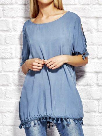 Bluzka damska z pomponikami ciemnoniebieska