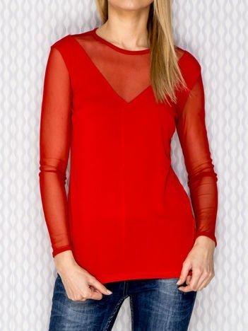 Bluzka damska z siateczkowymi wstawkami czerwona