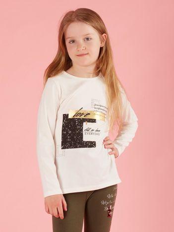 Bluzka dla dziewczynki z nadrukiem ecru