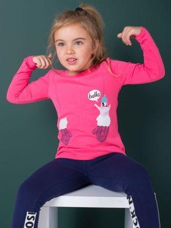 Bluzka dla dziewczynki z zimowym nadrukiem różowa