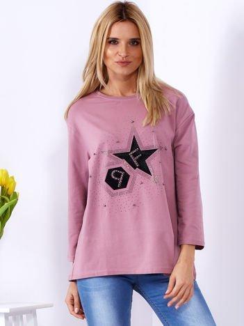 Bluzka fioletowa z błyszczącą aplikacją