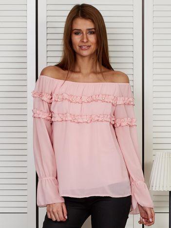 Bluzka hiszpanka z falbankami i perełkami różowa
