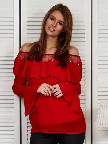 Bluzka hiszpanka z perełkami czerwona
