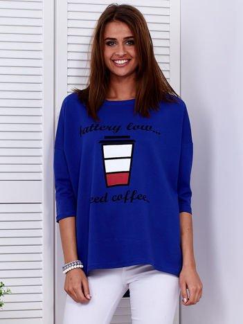 Bluzka kobaltowa z kawą