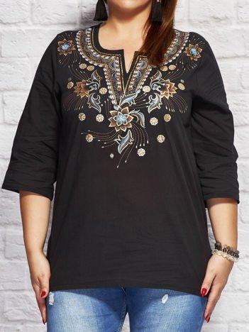Bluzka koszulowa oversize w folkowe wzory czarna
