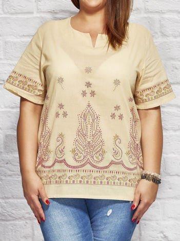 Bluzka koszulowa oversize z motywami etnicznymi beżowa