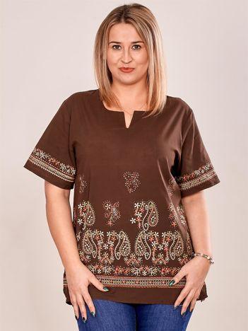 Bluzka koszulowa oversize z motywem paisley brązowa PLUS SIZE