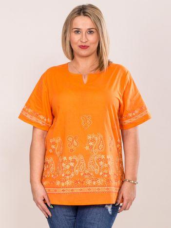 Bluzka koszulowa oversize z motywem paisley pomarańczowa PLUS SIZE