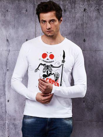 Bluzka męska biała z printem na Halloween