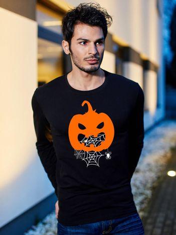 Bluzka męska czarna z dyniowym nadrukiem Halloween