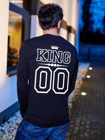 Bluzka męska z nadrukiem na plecach KING dla par czarna