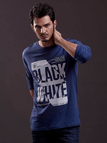 Bluzka męska z nadrukiem napisów niebieska