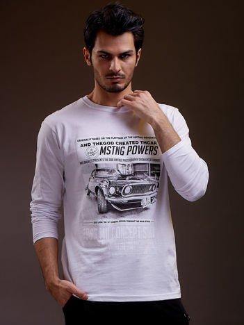 Bluzka męska z nadrukiem samochodu biała