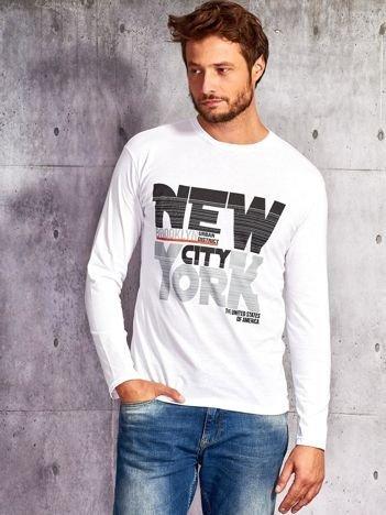 Bluzka męska z napisem NEW YORK CITY biała