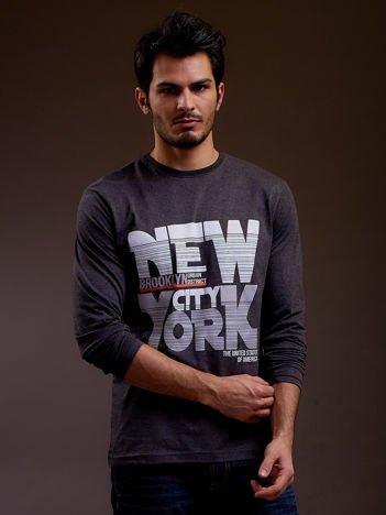 Bluzka męska z napisem NEW YORK CITY ciemnoszara