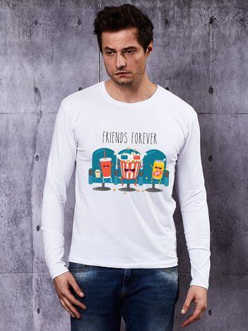 Bluzka męska z napojami i popcornem FRIENDS FOREVER biała