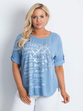 Bluzka plus size z nadrukiem niebieska