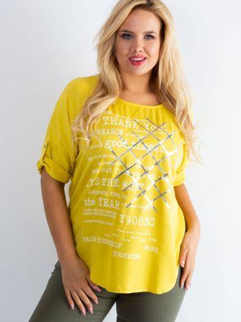 Bluzka plus size z nadrukiem żółta