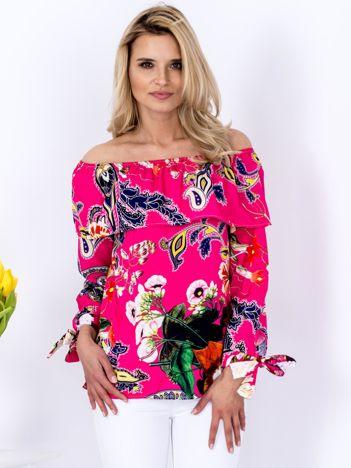Bluzka różowa hiszpanka w kolorowe desenie