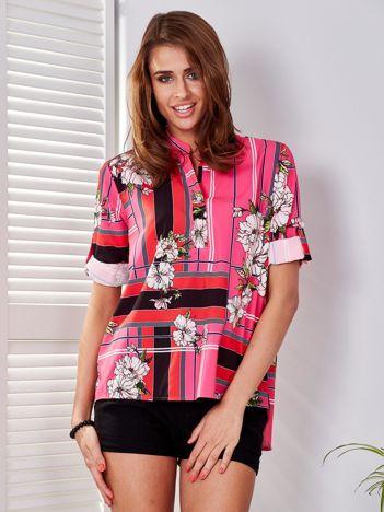 Bluzka różowa w kratę i kolorowe kwiaty