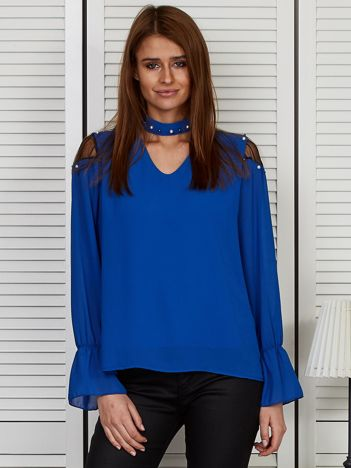 Bluzka szyfonowa z chokerem i perełkami kobaltowa