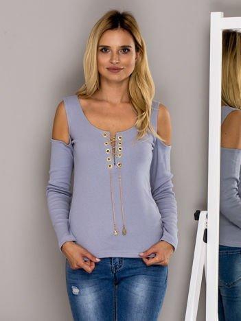 Bluzka w prążek z łańcuszkiem jasnoniebieska
