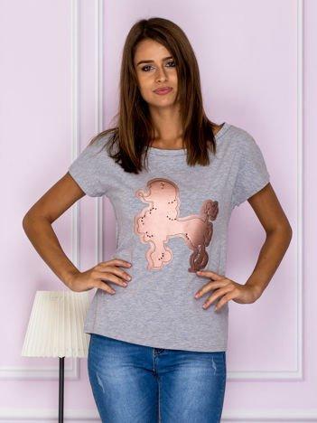 Bluzka z aplikacją psa szaro-różowa