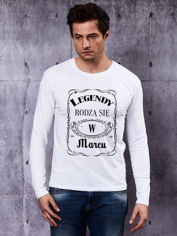 Bluzka z długim rękawem męska LEGENDY Z MARCA biała
