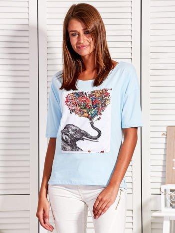 Bluzka z naszywką ze słoniem jasnoniebieska
