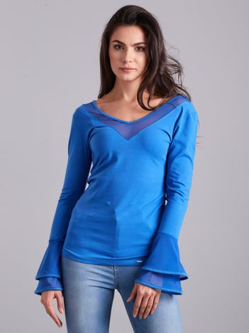 Bluzka z ozdobnymi rękawami niebieska