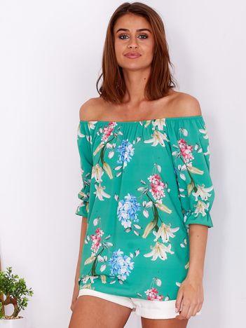 Bluzka zielona z hiszpańskim dekoltem w kwiaty