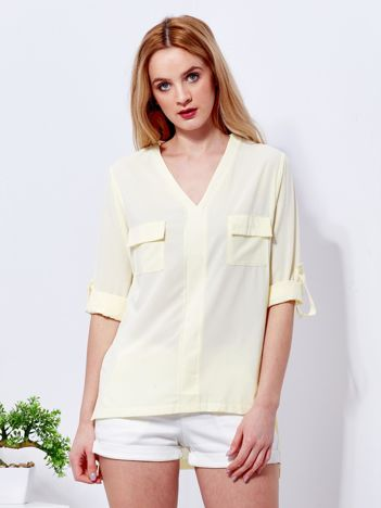 Bluzka żółta V-neck z podwijanymi rękawami
