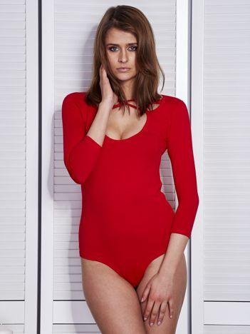 Body damskie czerwone z ozdobnym dekoltem