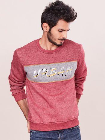 Bordowa bluza męska z wypukłym napisem