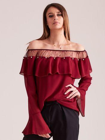 Bordowa bluzka w stylu hiszpańskim z falbaną