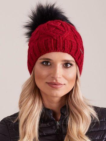 Bordowa czapka zimowa damska