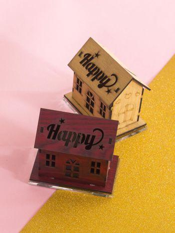 Bordowa dekoracja z podświetleniem domek