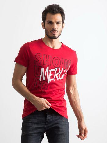 Bordowa koszulka męska z napisami