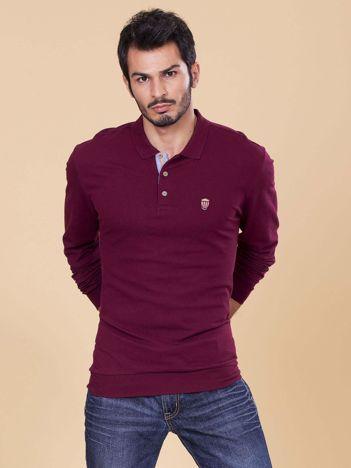 Bordowa koszulka polo męska z długim rękawem