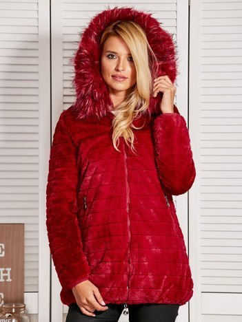 Bordowa kurtka damska z odpinanym futerkiem