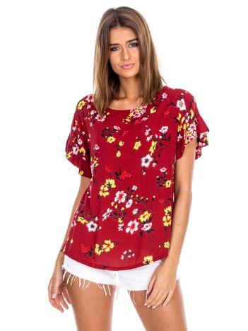 Bordowa kwiatowa bluzka z falbanami na rękawach