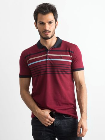 Bordowa męska koszulka polo w paski